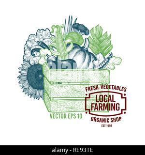 Holzkiste voll von Bio-lebensmitteln. Vektor Hand gezeichnet vintage Abbildung: Bauernhof Bio Gemüse. Bauernhof frisches Design vorlage. - Stockfoto