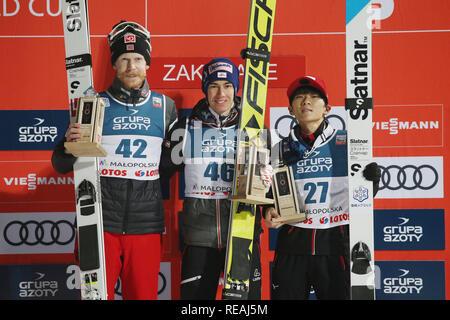 Gesehen feiern, nachdem er die einzelnen Konkurrenz der FIS Skisprung Weltcup in Zakopane. - Stockfoto