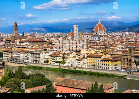 Palazzo Vecchio Dom Stadtbild Arno Übersicht Florenz Toskana Italien. - Stockfoto