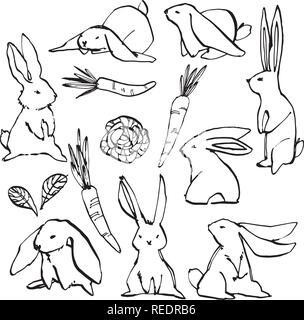 Sammlung von einigen niedlichen Kaninchen, Hand zeichnen Abbildung. Ziehen Vektor-illustration set Character Design von niedlichen Kaninchen. - Stockfoto