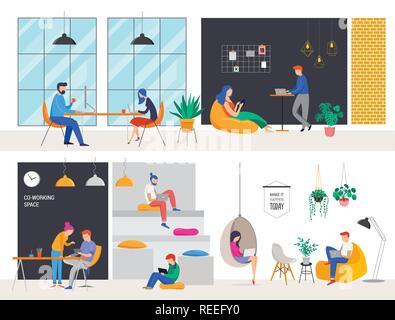 Co-Arbeitsraum, Konzept Abbildung. Junge Leute mit Laptops und Computer gemeinsam auf einer modernen Büroarbeitsplatz. Vektor Flat Style Abbildung - Stockfoto