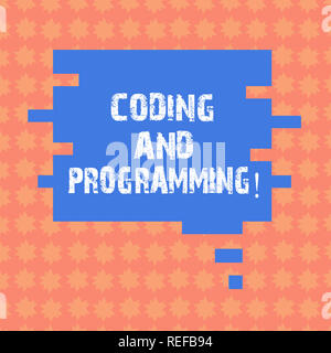 Schreiben Hinweis, Kodierung und Programmierung. Business Foto präsentieren Design und ein ausführbares Computerprogramm Sprechblase in Puzzle Stück S bauen - Stockfoto