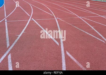Leichtathletik Rennstrecke sich schneidende Linien - Stockfoto