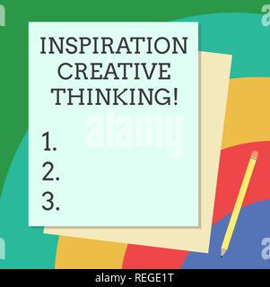 Wort schreiben Text Inspiration kreatives Denken. Business Konzept für die Fähigkeit, mit frischen und neuen Ideen Stapel leer verschiedenen Pastellfarben Colo zu kommen - Stockfoto