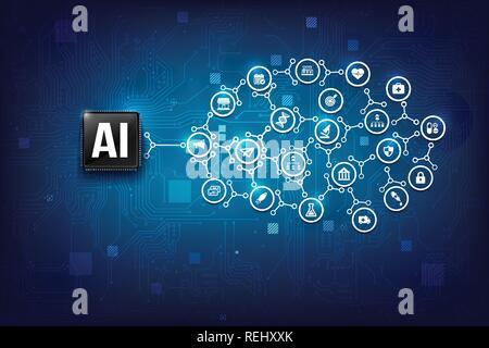 AI Künstliche Intelligenz Technologie-CPU Chipsatz mit print Leiterplatte dot Verbindungslinie element Abstract background Vektor eps Abbildung 10 - Stockfoto