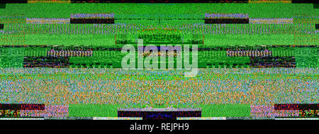 Das digitale Fernsehen Geräusche auf einem großen Plasma OLED 4 K Ultra HD High Dynamic Range HDR Smart TV breite Bild - Stockfoto
