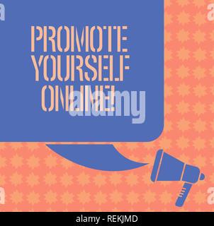 Schreiben Hinweis anzeigen Präsentieren Sie sich Online. Business foto Präsentation klar definierte Marke, macht sie sich Farbe Silhouette der leere Quadrat - Stockfoto