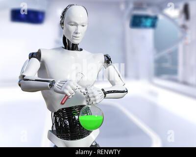 3D-Rendering eines männlichen Roboter in einem Labor arbeiten, einem wissenschaftlichen Experiment. Er giesst die Flüssigkeit aus einem Reagenzglas in einen Becher. - Stockfoto