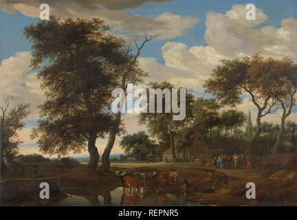 Blick auf ein Dorf. Dating: 1663. Maße: h 105 cm x w 150,5 cm; d 9,5 cm. Museum: Rijksmuseum, Amsterdam. Autor: Salomon van Ruysdael. - Stockfoto