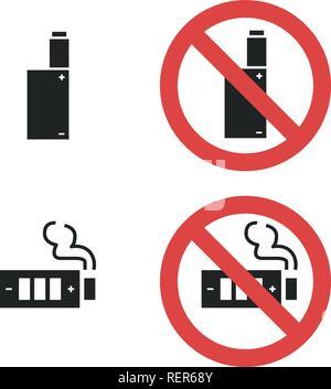 Vaping Gerät nicht verbietet, unterzeichnen. Vektor icon Abbildung auf weißen isoliert - Stockfoto