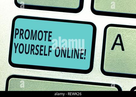Schreiben Hinweis anzeigen Präsentieren Sie sich Online. Business foto Präsentation klar definierte Marke, macht sie sich Taste der Tastatur Absicht zu creat - Stockfoto