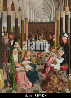Die Heilige Sippe. Dating: C. 1495. Ort: Haarlem. Maße: Support: H 137,2 cm × w 105,8 cm. Museum: Rijksmuseum, Amsterdam. Autor: Geertgen Tot Sint Jans (Werkstatt). GEERTGEN Tot Sint Jans. - Stockfoto