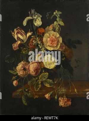 Stillleben mit Blumen. Datierung: 1670 - 1727. Maße: H 65 cm x W 51,5 cm; d 6cm. Museum: Rijksmuseum, Amsterdam. Autor: Jacob van Walscapelle (zugeschrieben). Rachel Ruysch (Namensnennung zurückgewiesen). - Stockfoto