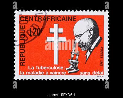 Briefmarke aus der Zentralafrikanischen Republik, Robert Koch, centennial von der Entdeckung des Tuberkulose Bakterien - Stockfoto