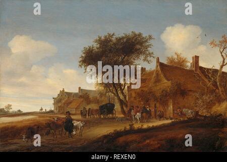 Ein Village Inn mit der Postkutsche. Dating: 1655. Maße: H 56 cm x W 84,5 cm, d 7,5 cm. Museum: Rijksmuseum, Amsterdam. Autor: Salomon van Ruysdael. - Stockfoto