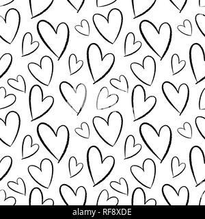 Nahtlose Muster von Hand gezeichnete Herzen. Hintergrund für Karten, Papiere, Stoffe, Tapeten, Dekoration, Werbebanner, Poster, Broschüren. Vektor illustra - Stockfoto