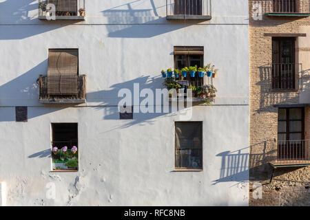 Balkon und Blumen auf der Fassade eines Gebäudes, Spanien - Stockfoto