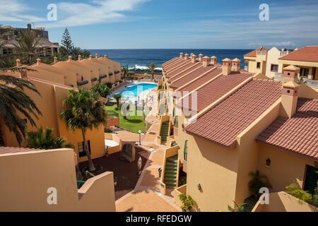 Spanien, Kanarische Inseln, La Gomera. Valle Gran Rey. Beach Resort Las Tres Palmeras. - Stockfoto