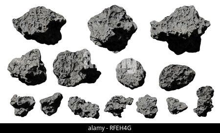 Gruppe von Asteroiden, die isoliert auf weißem Hintergrund (3D-Rendering) - Stockfoto
