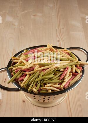Bunte ungekocht orecchiette Pasta in einem kleinen Sieb - Stockfoto