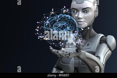 Roboter mit künstlicher Intelligenz. 3D-Darstellung - Stockfoto