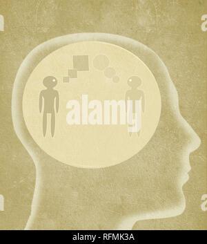 Menschlichen Kopf mit zwei Personen, die unterschiedliche Sprachen sprechen digitale Illustration - Stockfoto