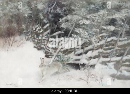BRUNO LILJEFORS, WINTER HASE AM ZAUN.jpg-RFNHBH - Stockfoto