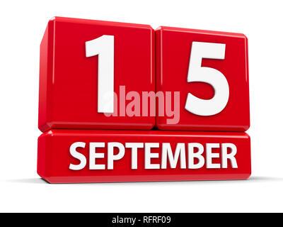 Rote Würfel - Der 15. September - auf einem weißen Tisch - Internationaler Tag der Demokratie und der Welt Lymphom Bewußtsein Tag, drei-dimensionalen renderi - Stockfoto