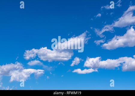 Paar cumulus Wolken vor blauem Himmel - Stockfoto