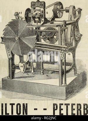 . Kanadische Forstindustrie 1880-1881. Holzschlag; Wälder und Forstwirtschaft; Wald; Wald - zellstoffindustrie; Holz verarbeitenden Industrien. 13 H. Covel der neuesten Verbesserte automatische Säge Spitzer! Die perfekte Maschine, die je in Mühlen für diesen Zweck. Kreissäge DAMPF FEED! Ich möchte auch ein besonderes Augenmerk auf meine schwere Kreissäge Mühlen und für Dampf Mühlen, würde der Dampf Feed empfehlen, nachdem in mehreren, die sind die besten der Sat-isfaction, wird durch die folgenden Referenzen gesehen werden: - Gbavenuuest, 20. August 1880. Wm. Hamilton, Esq,, Peterborough. - Stockfoto