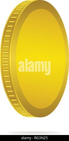 Dreidimensionale Goldmünze auf weißem Hintergrund. Münze Icon Design. - Stockfoto