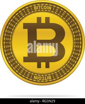 Goldfarbenem bitcoin auf weißem Hintergrund. Währung Icon Design. - Stockfoto
