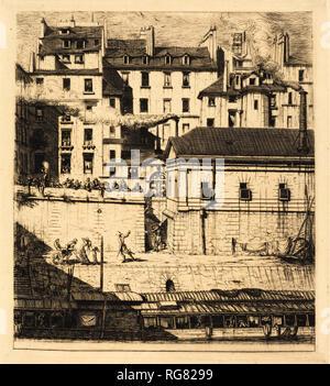 La Leichenschauhaus, Paris (leichenhalle). Stand: 1854. Abmessungen: Platte: 23,2 x 20,7 cm (9 1/8 x 8 1/8 in.) Blatt: 25,4 x 24,3 cm (10 x 9 9/16 in.). Medium: Radierung und Gravur auf Bütten. Museum: Nationalgalerie, Washington DC. Autor: Charles Meryon. - Stockfoto