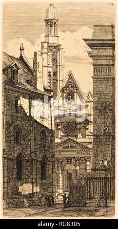 Saint-Etienne-du-Mont, Paris (Kirche St. Stephan auf dem Berg, Paris). Stand: 1852. Abmessungen: Platte: 25 x 13 cm (9 13/16 x 5 1/8 in.) Blatt: 37,3 x 24,2 cm (14 11/16 x 9 1/2 in.). Medium: Radierung auf Bütten. Museum: Nationalgalerie, Washington DC. Autor: Charles Meryon. - Stockfoto