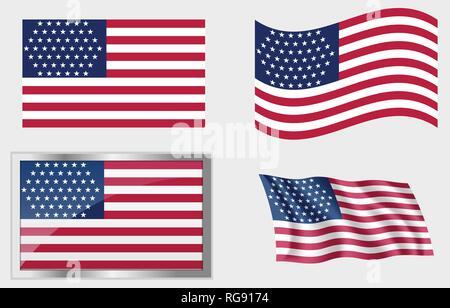 Historische Flagge Der Vereinigten Staaten 51 Sterne Vektor