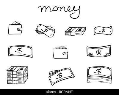 Geld Icons - Sketchy doodle style Abbildung mit Banknoten und Mappen. Geschäft einstellen. - Stockfoto