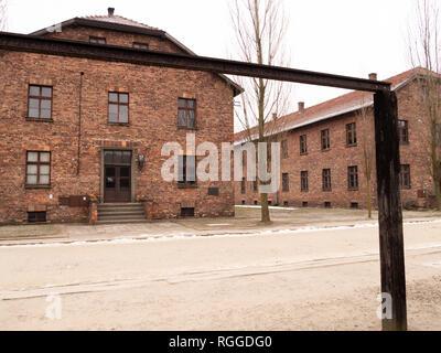 Galgen, Konzentrations- und Vernichtungslager Auschwitz, Oswiecim, Polen - Stockfoto