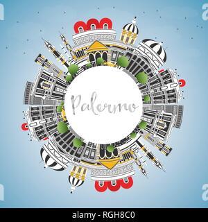 Palermo Italien City Skyline mit Farbe Gebäude, blauer Himmel und Kopieren. Vector Illustration. Business Travel und Tourismus Konzept. - Stockfoto