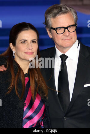 Dec 12, 2018 - Colin Firth, Livia Firth an Mary Poppins zurück Europäische Premiere, der Royal Albert Hall in London, Großbritannien - Stockfoto