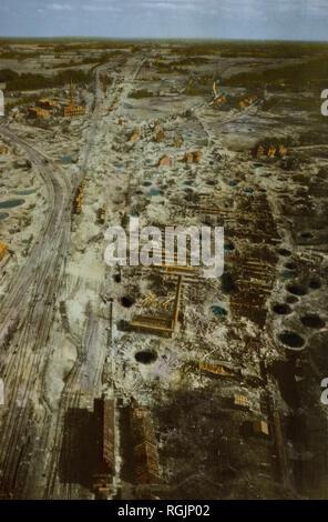 Zerstört Rail Yard, Rheine, Deutschland, Rheinland Kampagne, 1945 - Stockfoto