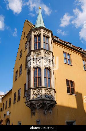 Deutschland, Bayern, Augsburg, Jakobervorstadt, Fuggerei, Erker - Stockfoto