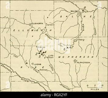 . Bulletin. Ethnologie. 212 BÜRO DER AMERIKANISCHEN ETHNOLOGIE [Boll. 174. Abbildung 35.- IVlap Übersicht Lage bestimmter arclieological Websites in und in der Nähe von Rice County. Nummerierte Seiten: 7, Malone, 14 RC5; 2, Tobias, 14 RC8; 3, Thompson, 14 RC 9;4, Major, 14 RC2; 5, Hayes, 14 RC3;< 5, Swenson, auf Kleie Creek; 7, Farbe Creek, 14 MP1: 8, Whiteford Seite 14 SA 1. Petroglyph Gemeinden durch S. verlässt den Ort in östlicher Richtung. Upstream, es gibt wenig oder keine Leben Wasser, aber mehrere Federn Problem von der Basis der Sandstein aus Kulturpflanzen und von diesen gibt es eine von Wasser Tröpfeln und eine occasio - Stockfoto