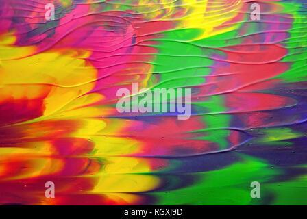 Abstrakte und bunte Acryl Malerei mit Textur Details Stockfoto