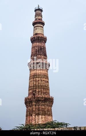 Qutab Minar - das höchste Miner in der Welt und auch die UNESCO Welterbe in Delhi, Indien - Stockfoto