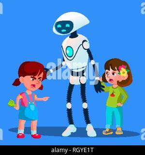 Roboter setzt neben zwei Mädchen kämpfen Kinder Vektor. Isolierte Abbildung - Stockfoto