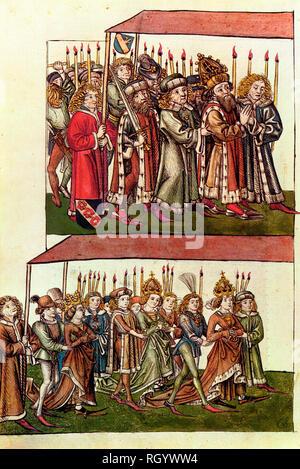 König Sigismund und Königin Barbara (Slowenisch: Barbara Celjska, Ungarisch: Cillei Borbála) oder Barbara von Cilli), rechts, und die Tochter, Königin Elisabeth von Luxemburg (Ehefrau von Albrecht II. HRR), links) Mit dem Zug nach Münster, ca. 1440 Stockfoto