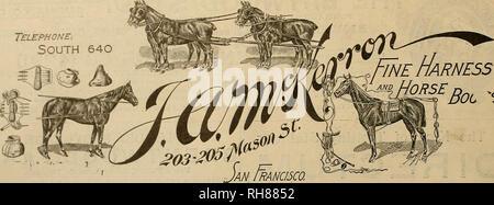 """. Züchter und Sportler. Pferde. 16 C-Sje< § vestosv tmtr QpovumtWh [Juli 2, 1898 Telefon-. Süd 640. w^rBoL^ Dash Trabrennen. Kalifornien JOCKEY CLUB'S TRACK Oakland 25 Juni bis Juli 23, 1898, Inclusive SOMMER SITZUNG-DES-Pacific Coast Trotting Horse Züchter Ass'n Das wird ein Trab Treffen auf dem gleichen Plan, dass hat mit popnlar jedem Start ein Rennen gegeben werden. Schnelle Aktionen. Keine Verzögerungen. Professionelle Starter. Buch - Wetten und Auktion Pools. Besten Pferde an der Küste sind eingetragen. Programm für die zweite Woche. JtJLY SAiritBAY, a, Pnrse. 2:16, ClaJ., Pacini. R""""Â"""" Uhr. 1,6 S200 2:1 - Stockfoto"""