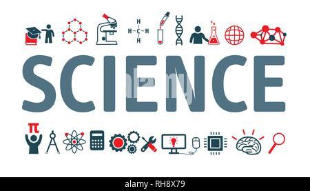 Set Vector Icons, Zeichen und Symbole der Wissenschaft. Sammlung moderne Infografik logo und Piktogramm - Stockfoto