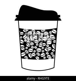 Kunststoff Kaffeetasse, Kaffeebecher und Tasse mit Kaffee Bohne Banner zu gehen, skizzierte in schwarzer Tinte auf weißem Hintergrund Vector Illustration - Stockfoto