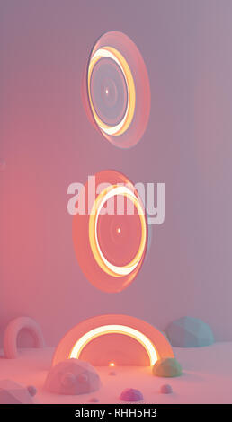 Kreise der Roten, die in der Luft schweben Licht.. 3D-Rendering - Stockfoto